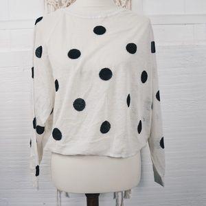Zara Knit sheer cropped slub knit top